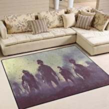 """SAVSV Large Area Rugs 5'3"""" x 4',Zombie Crowd Walking at Nigh Printed,Lightweight Non Slip Floor Carpet for Living Room Bedroom Home Deck Patio"""