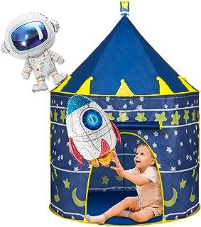 Joyjoz Lektält för barn med 2 ballonger, rymdskeppstält för pojkar flickor, barn lekhus popup-tält slott leksaker för inom...