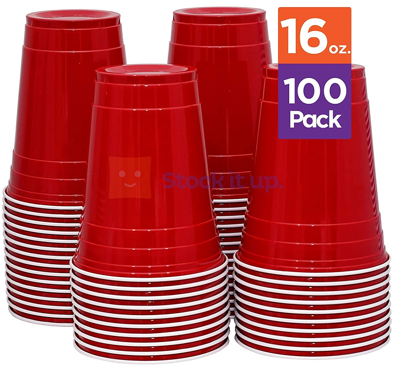 Stack Man [ 16 oz-100 Pack] Red Party Cups, Cold Drink Plastic Disposable, 16 oz,