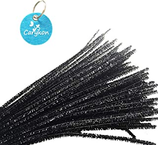 Carykon 100 PCS 12 Inch Glitter Tinsel Creative Arts Chenille Stems Pipe Cleaners (Black)