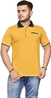 Ytrick Men's Polo T-Shirt (Yellow, XL)