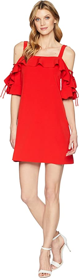 Crepe T Body Dress with Lace-Up Sleeves