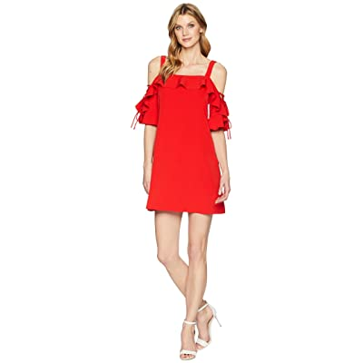 Laundry by Shelli Segal Crepe T Body Dress with Lace-Up Sleeves (Poppy) Women