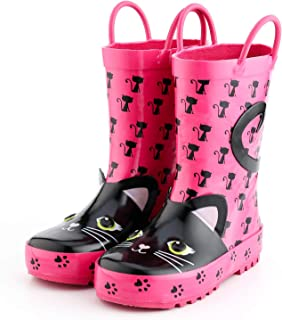 KomForme Kids Rain Boots, Girl and Boy Rubber Boots with Animal Patterns and Easy on Handles