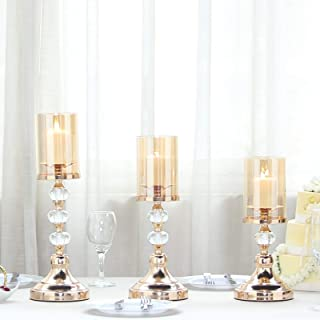 Efavormart Set of 3 | Gold Metal Pillar Candle Holders with Hurricane Glass Tubes - 13