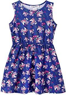 SMILING PINKER Toddler Little Girls Flower Dress Cotton Casual Summer Sundress