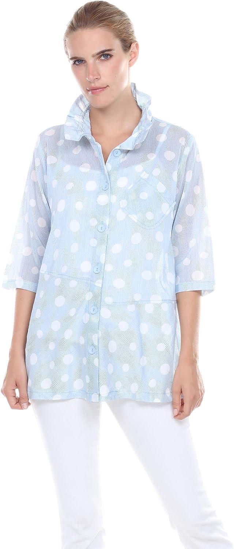 TerraSj Apparel Women's Woven Button Front Dot Print Top Shirt Blouse