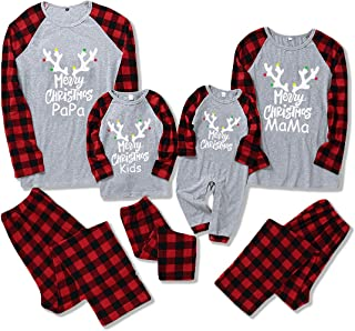 DERCLIVE Christmas Family Matching Clothes Long Sleeve Shirt Pants Baby Romper Homewear Xmas Pajamas Set Best for Dad Mam ...