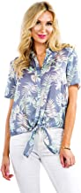 Women's Bright White Cactus Hawaiian Shirt for Summer - Tropical Tie Front Top Aloha Shirts