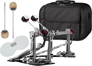 Pearl P2052C Eliminator Red Line Double Bass Drum Pedal Chain Drive w/ Case, Impact Patches and Extra Wood Beaters