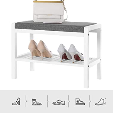 SONGMICS Shoe Rack Bench with Cushion Upholstered Padded Seat, Storage Shelf, Shoe Organizer, Holds Up to 350 Lb, Ideal for E
