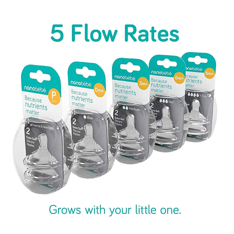Slow Flow nanobebe Silicone Nipples Twin-Pack