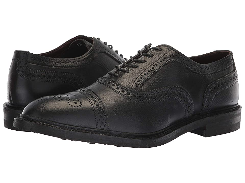 1920s Style Mens Shoes | Peaky Blinders Boots Allen Edmonds Strandmok Black Tumbled Mens Lace Up Cap Toe Shoes $344.95 AT vintagedancer.com