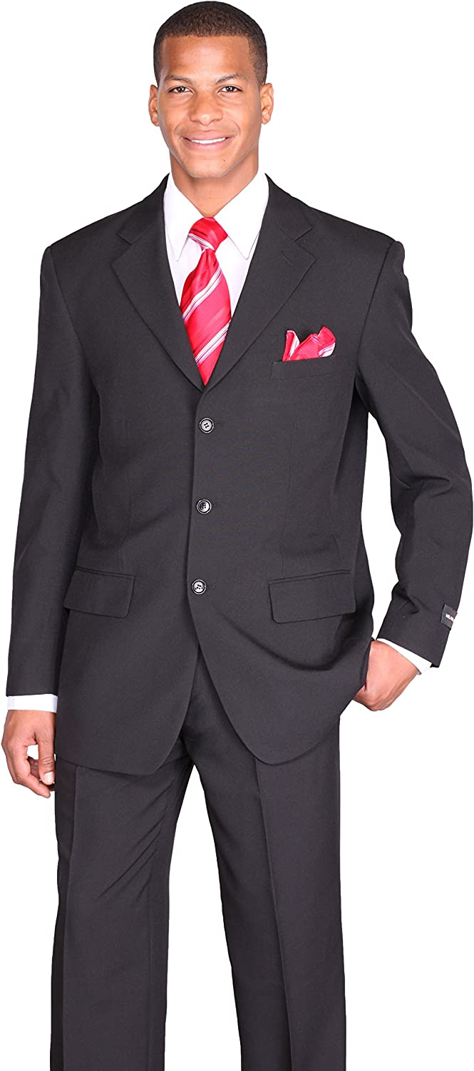 Milano Moda Men's 3 Button Single Breasted Dress Suit, More Than 10 Colors.