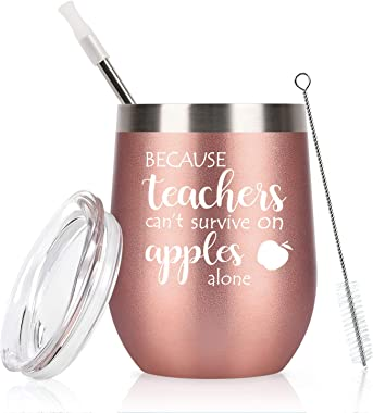 Funny Teacher Appreciation Gifts, Teachers Can't Survive on Apples Alone Wine Glass for Women, End Year Thank You Gifts f