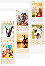 Photo Frame for Fujifilm instax Mini Film, Polaroid Zink Film & HP Sprocket Photo Paper, Refrigerator Magnets Frame for Lifeprint Film, Zink Photo Paper and Any 2x3 Photo Paper (Gold Foil on White)