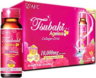 AFC Japan Tsubaki Ageless Beauty Collagen Drink from Japan with 10,000mg Marine Collagen Peptides + 500mg Royal Jelly + Hyaluronic Acid + Vitamin Bs & C for Skin Revitalization (1.69fl.ozx10 Bottles)