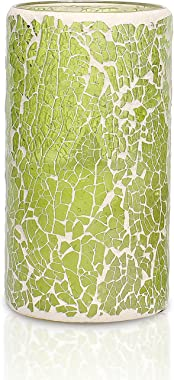 GiveU St.Patrick's Day Light Green Decor Mosaic Battery Operated Led Candle With Timer, 3 x 6