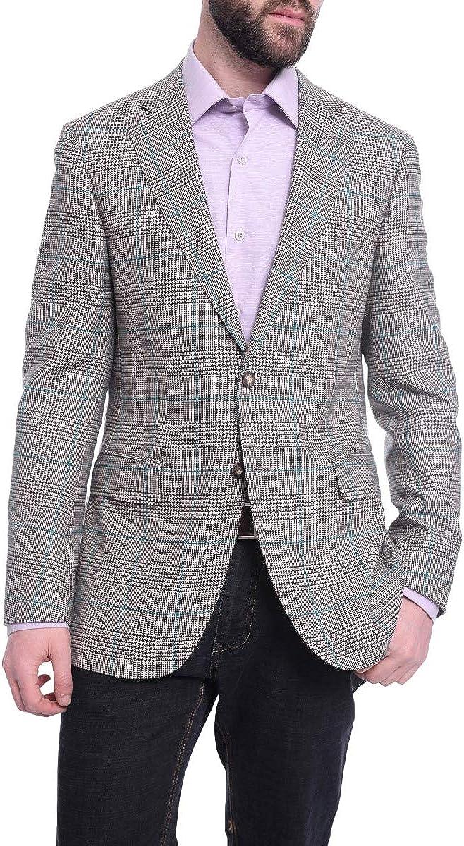 Napoli Slim Fit Tan Glen Plaid Half Canvassed Zegna Wool Cashmere Blazer