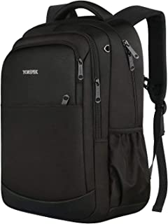 YOREPEK 15 inch Laptop Backpack, Travel Work Computer Rucksack with Sternum Strap, Water Resistant Lightweight Business Backpack for Women and Men, Casual College School bag, Black