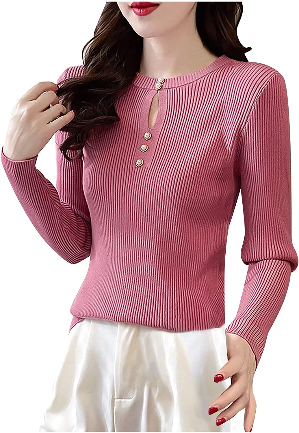 A2A Womens Henley Shirts Long Sleeve V Neck Ribbed Button Down Knit Sweater Fitted Tops Winter Wear Sweater Bottoming Shirt