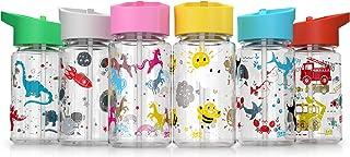 Be-Active Vattenflaska för barn med sugrör | BPA-fri | flip-munstycke | vattenflaska för barn | 400 ml | Barn skolflickor ...