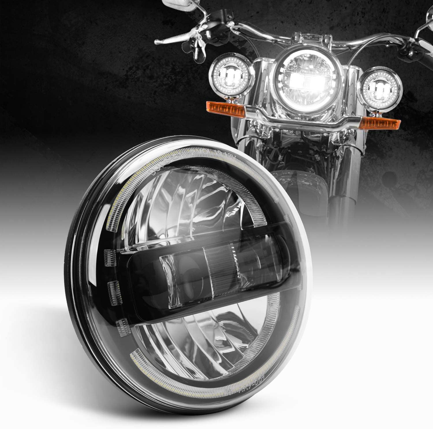 Dot Ranking TOP5 Approved Black 7inch LED Compatible Headlight High material DRL with