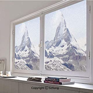 30x30 inch Decorative Static Cling Frosted Privacy Window Film,Matterhorn Summit with Cloud Mountain Scenery Glacier Natural Beauty Glass Film for Window Glass Panels,UV Protection,Energy Saving
