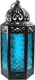 Vela Lanterns Moroccan Style Candle Lantern with LED Fairy Lights, Large, Blue Glass