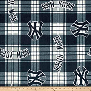 Fabric Traditions MLB Fleece New York Yankees Paid Navy/White Fabric By The Yard