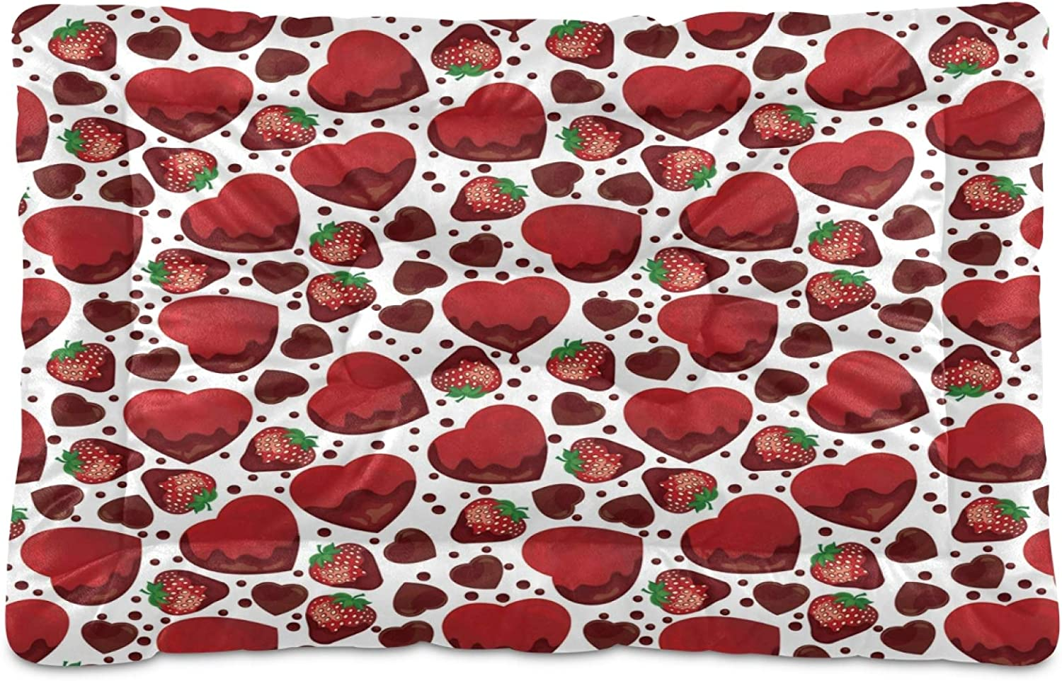 Nander Finally resale start Red Strawberry Heart Dots Pad Comfortable Beds Crate Popular products Dog