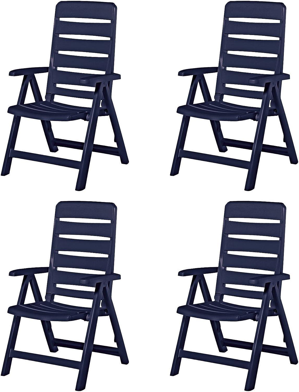 4 Kettler Nizza Gartenstühle Gartenmbel Sessel Klappsessel in blau