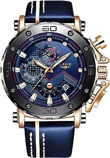 LIGE Watches for Men Waterproof Sport Analog Quartz Wrist Watch Fashion Luxury Business Dress Mens Watches Date Chronograph Blue Leather Strap Black Dial