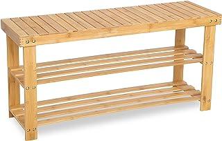 SONGMICS LBS90N-Zapatero Banco, 3 baldas, 90 x 28 x 45 cm, bambú, Naturaleza, 90 x 45 x 28 cm