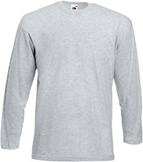 Fruit of the Loom Men's Long Sleeve T-Shirt Tee Top Plain Round Neck T Shirts