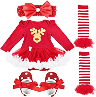 FEESHOW Newborn Infant Baby Girls First Christmas Outfit Costumes Tutu Dress Romper Bodysuit Leg Warmer Set