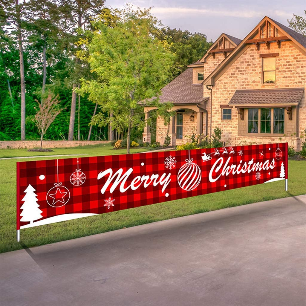 Christmas Tree Large Red Christmas Hanging Decorative Banner Signs for Xmas Outdoor or Indoor House Home Party Decoration OLOPE Merry Christmas Banner Outdoor Yard Decorations