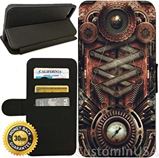 Flip Wallet Case for iPhone 7 (Steampunk Motherboard) with Adjustable Stand and 3 Card Holders | Shock Protection | Lightweight | by Innosub