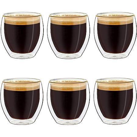 Creano Ensemble de 6 Verres à Espresso à Double Paroi, Verres Thermiques à Effet Flottant | 100ml