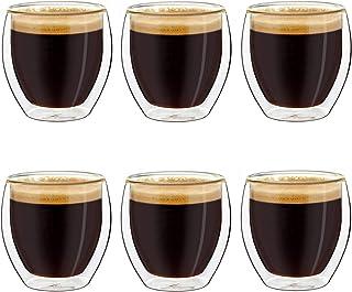 Creano Ensemble de 6 Verres à Espresso à Double Paroi, Tasse à Cafe, Verres Thermiques à Effet Flottant, Verre Expresso | ...