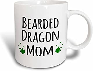 3dRose mug_154045_1 Bearded Dragon Mom for Female Lizard and Reptile Enthusiasts and Girl Pet Owners Green Footprints Ceramic Mug, 11-Ounce
