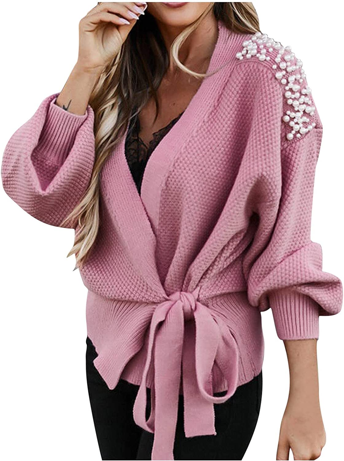 Long Lantern Sleeve V-Neck Bowknot Pearl Pure Color Waist Knit Cardigan Sweater for Women by Pocciol