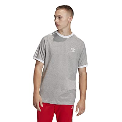 adidas Originals 3-Stripe Tee (Medium Grey Heather) Men