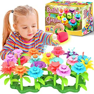 FunzBo Flower Garden Building Toys for Girls - STEM Toy Gardening Pretend Gift for Kids - Stacking Game for Toddlers plays...