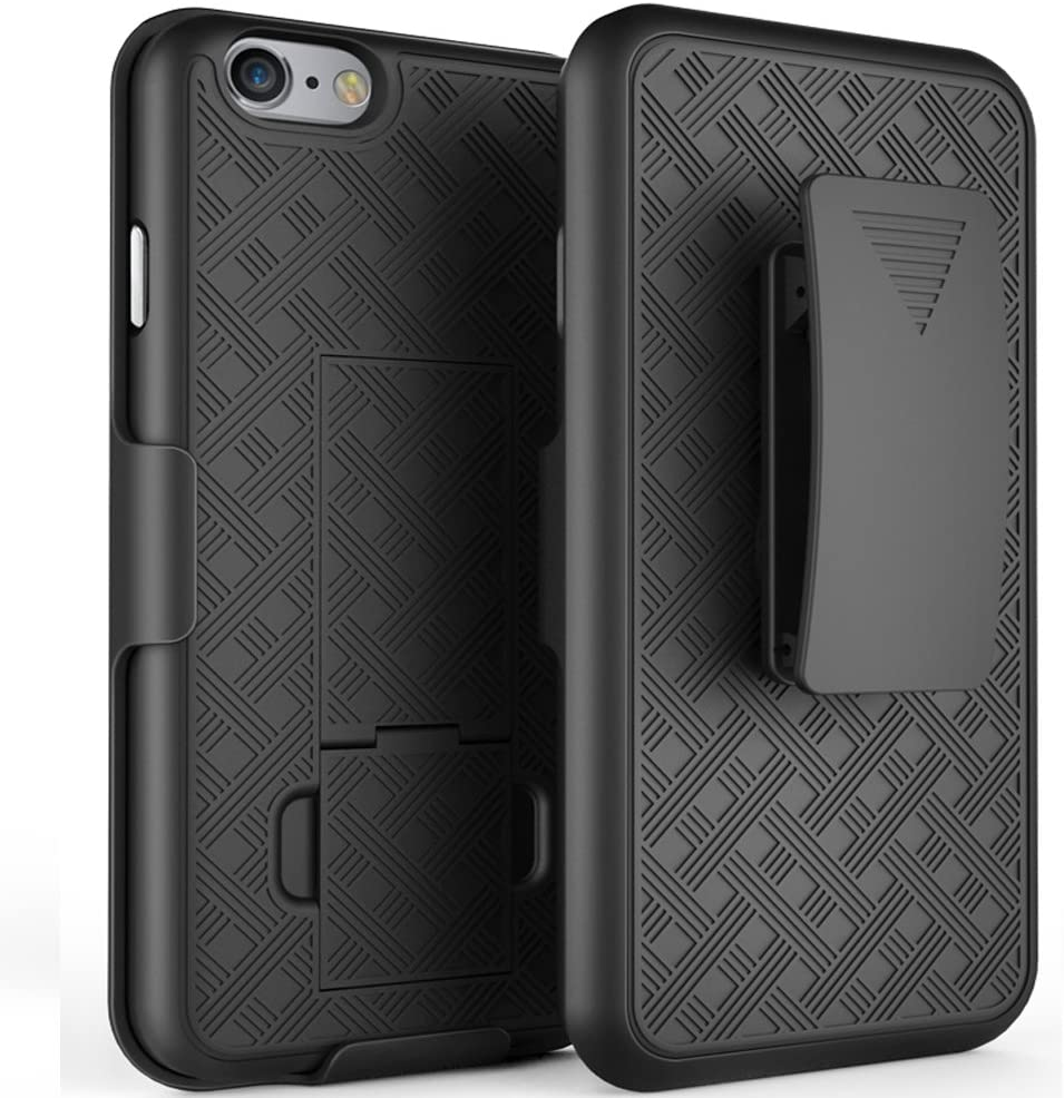 Bomea Holster Combo Belt Case with Clip Slim Armor Hard Protective Shell Cover for iPhone 7 iPhone 8 Kickstand Swivel Belt Clip - Black