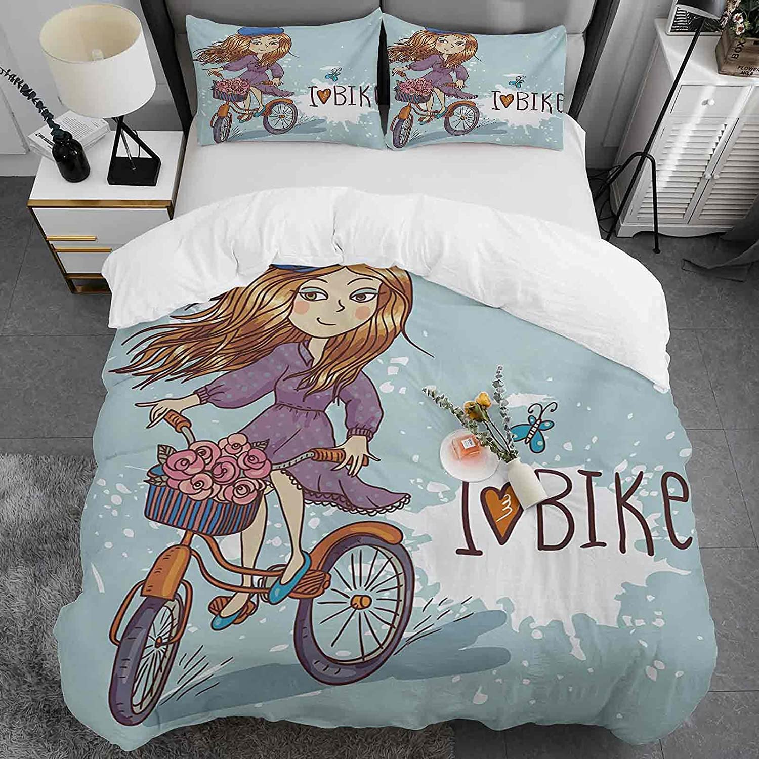 Kids 3 Max 55% OFF Piece Duvet Cover Twin Girl Cartoon Fren Image with Size Seasonal Wrap Introduction