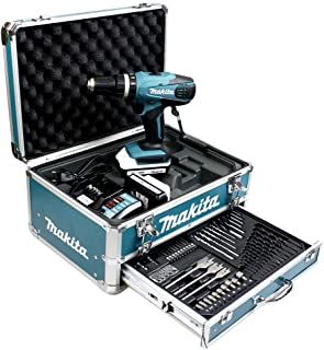 Makita Cordless Impact Driver - Drill Kit 18V LI-ION 1.3Ah 13mm Diameter (2Batteries + hp457dwex4Accessory Kit)