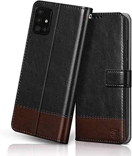 FLIPPED Vegan Leather Galaxy M51 Flip Case Cover Shock Proof With TPU Bumper Kickstand Card Cash Pockets With RFID Blocking Magnetic Closure Wallet Flip Cover For Samsung Galaxy M51 Hand Stitched Black With Brown