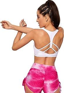 Milumia Women Yoga Sports Bra Scoop Neck Workout Fitness Seamless Bralette Tank Top
