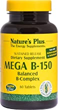 NaturesPlus Mega B150 Complex, Sustained Release - 60 Vegetarian Tablets - Maximum Potency B Complex Vitamin Supplement, Energy & Brain Booster, Stress Reliever - Gluten-Free - 60 Servings